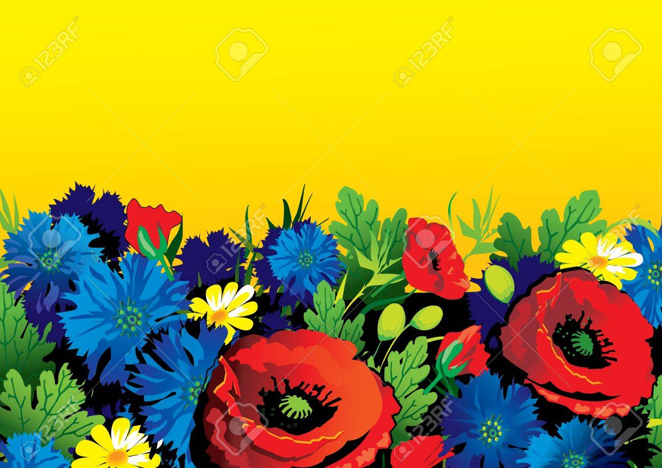 Beautiful flowers on a yellow background place for your text beautiful flowers on a yellow background place for your text vector art illustration stock vector izmirmasajfo