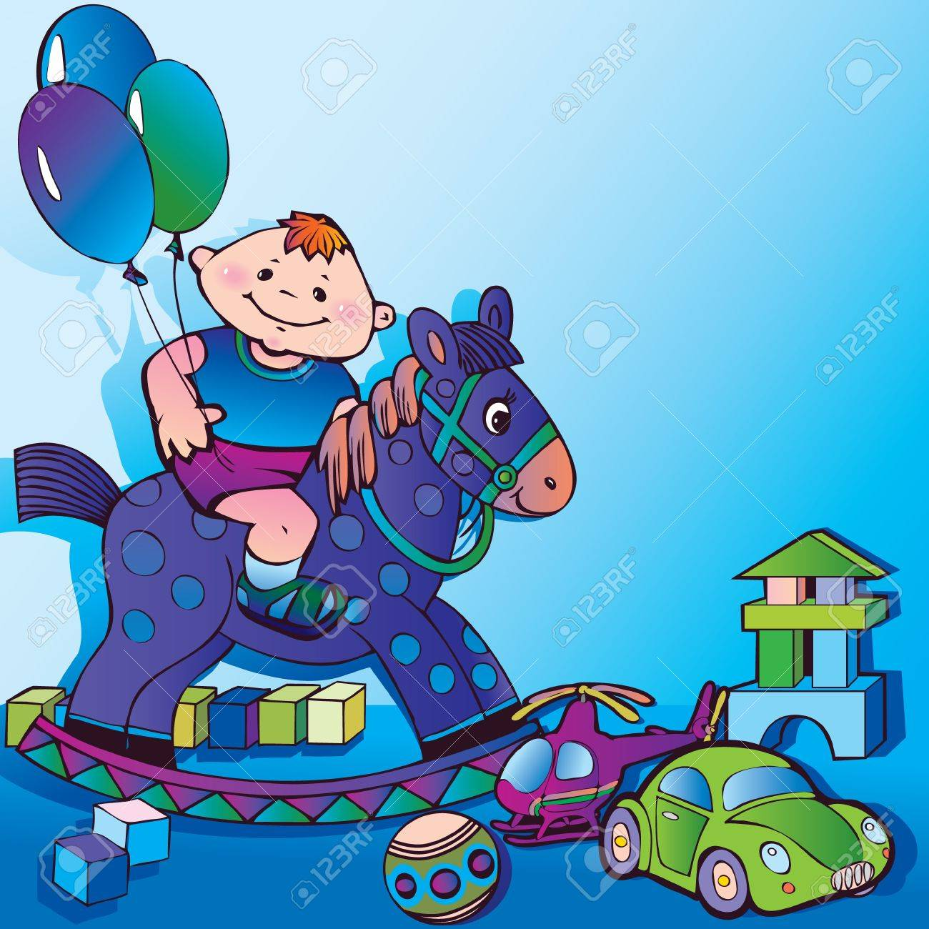 Nice boy with toys  Happy childhood, art-illustration on a blue background Stock Vector - 12996783