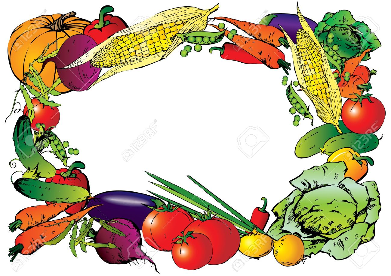 Vegetable garden art - Vegetable Garden Collection Of Vegetables In The Form Of Frame Place For Your Text Vector