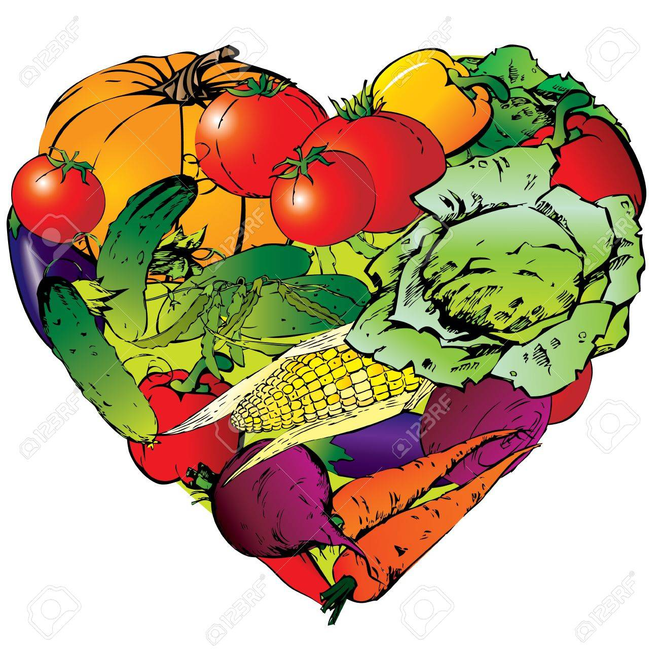 3,572 Vegetable Heart Stock Vector Illustration And Royalty Free ...