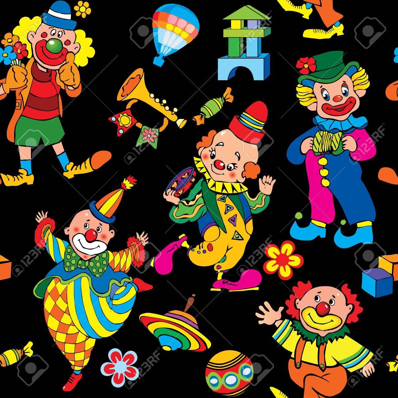 Cartoon circus seamless pattern art-illustration on a black background Stock Vector - 15067570