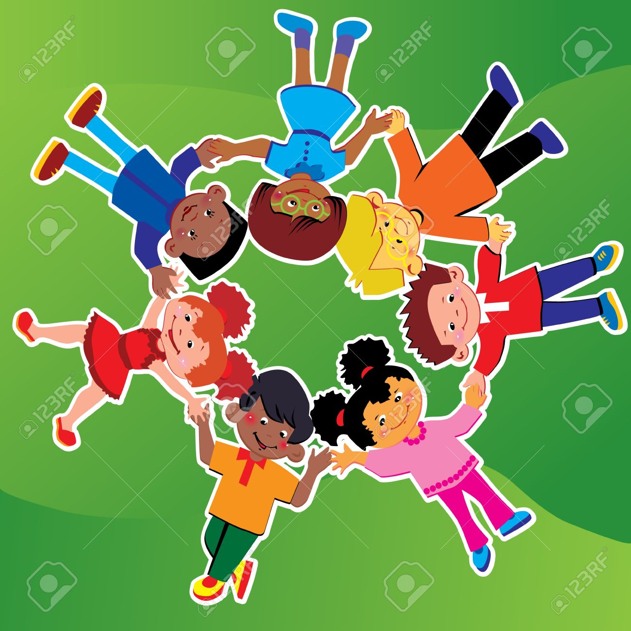Happy kids of different nationalities play together on the grass Stock Vector - 15337851
