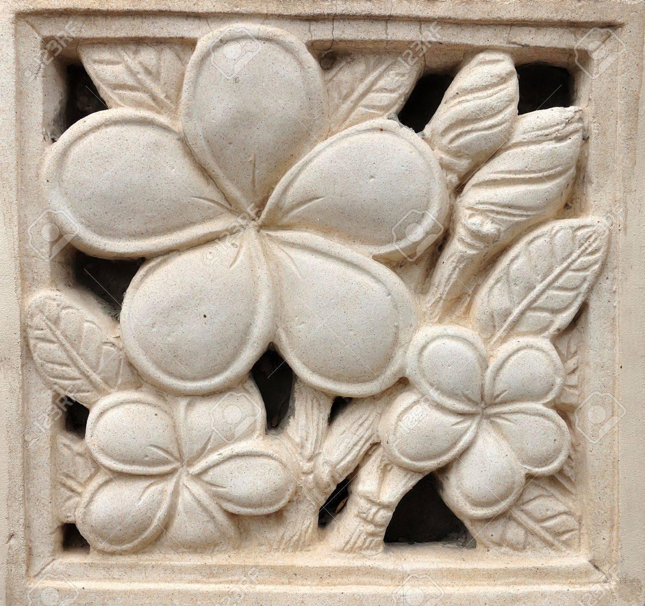Stone Plumeria Craft Art Design For Spa Frangipani Stock Photo