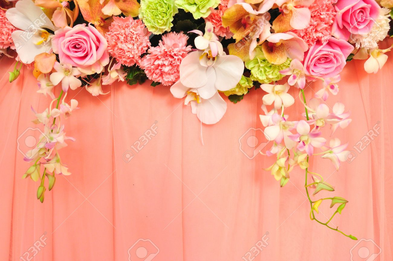 beautiful flowers blossom on pink curtain background for wedding..