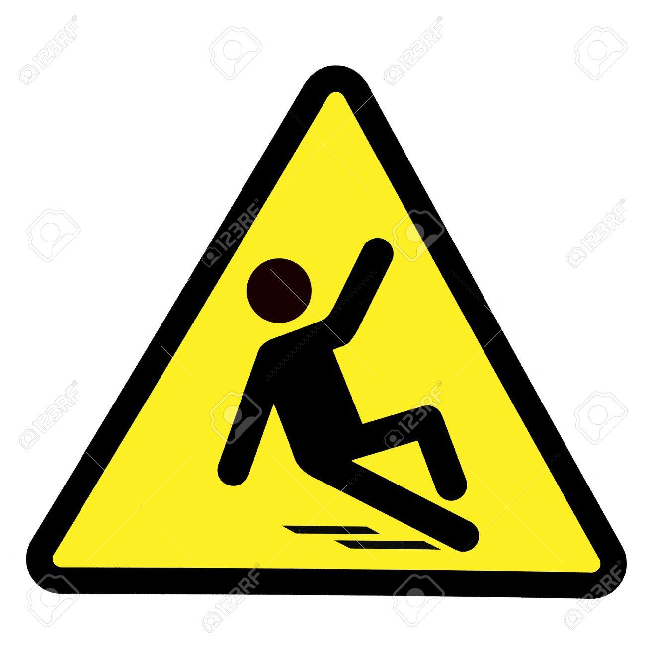 Slippery wet floor sign, wet floor warning symbol - 16022932