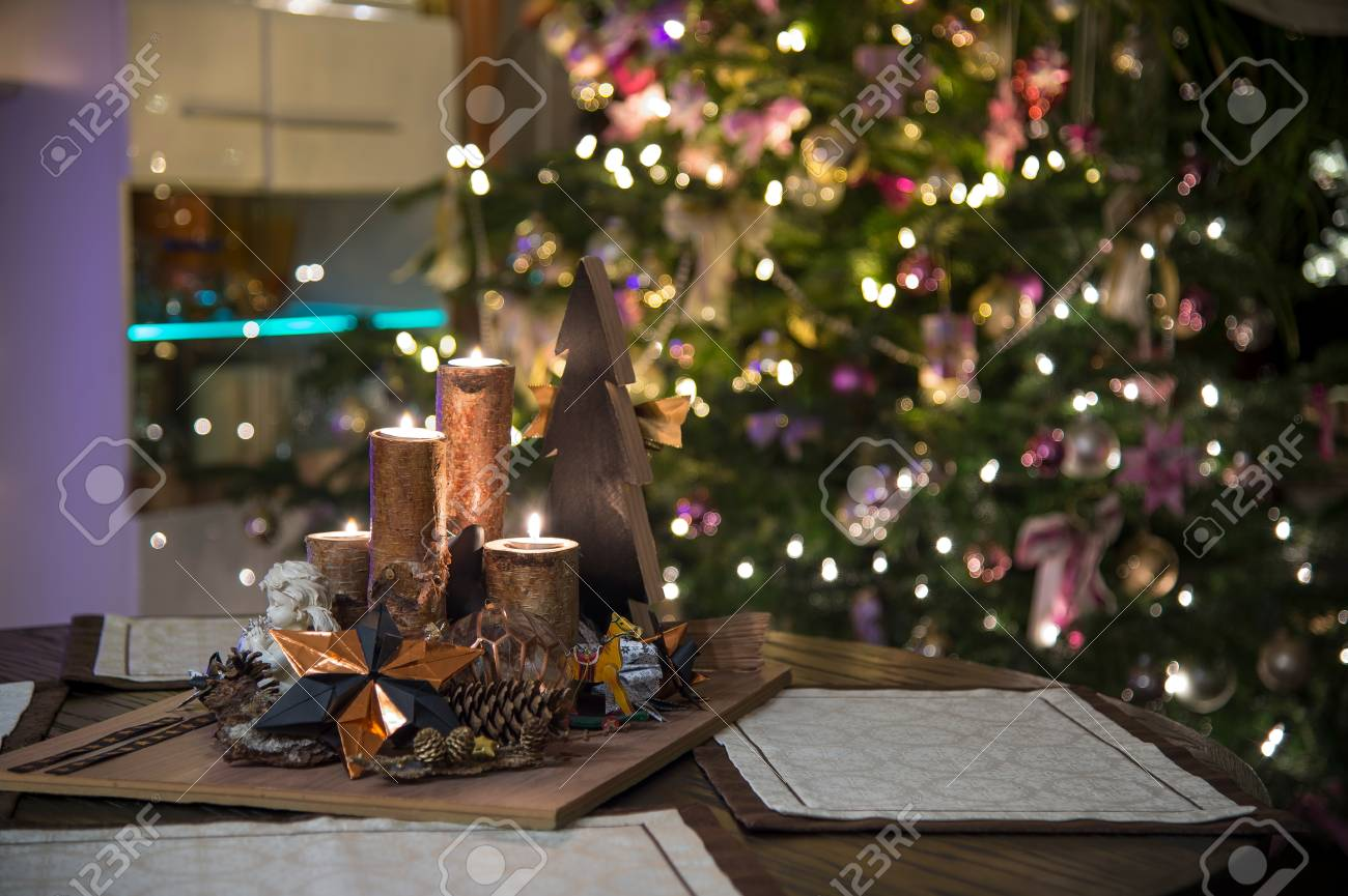 A Christmas Arrangement.It S Holy Night The Christmas Tree Is Lit In The Foreground