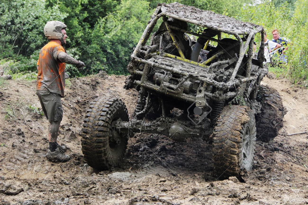 4x4 Off Road >> Off Road Vehicle Driving Through Mud On 4x4 Offroad Race