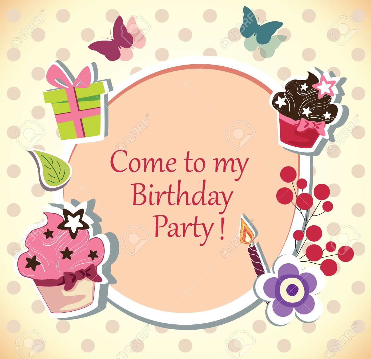 Birthday party invitation card royalty free cliparts vectors and birthday party invitation card stopboris Image collections