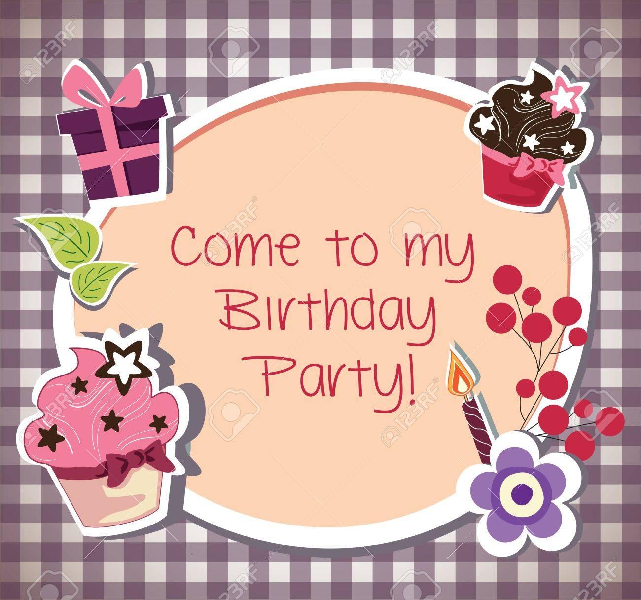 Birthday Party Invitation Card Royalty Free Cliparts, Vectors, And ...