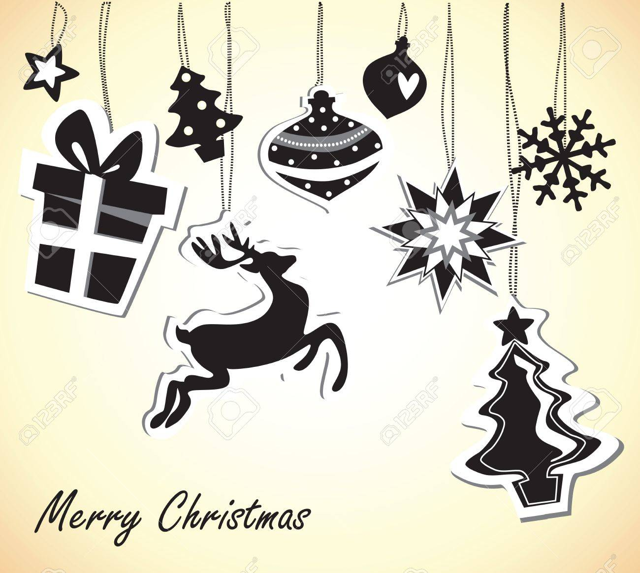 Christmas Card With Black And White Elements Stock Vector