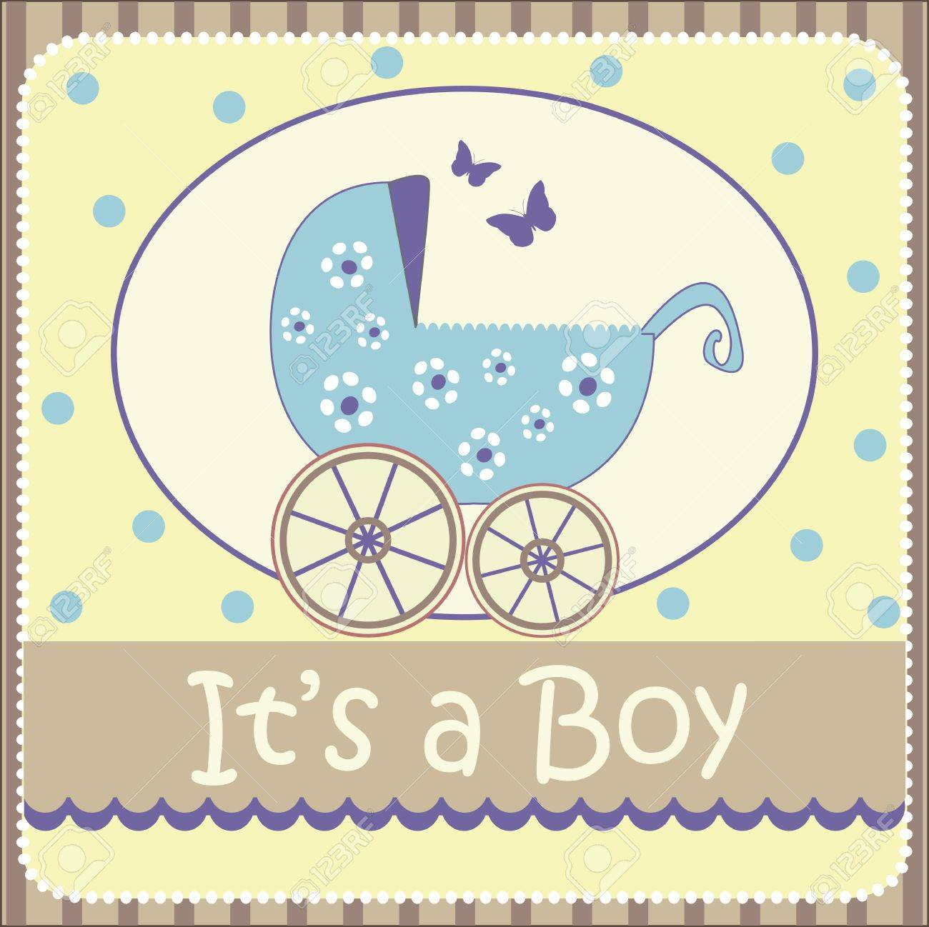 Baby Boy Announcement Card Royalty Free Cliparts Vectors And – New Baby Boy Announcement
