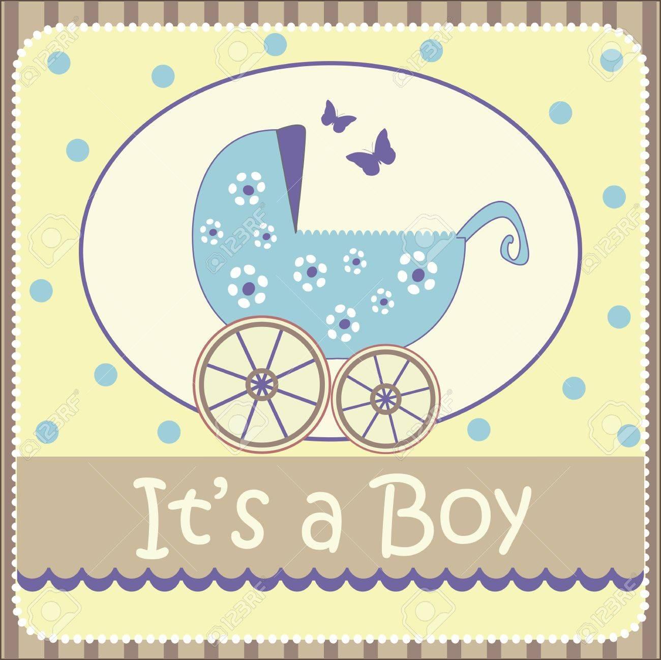 baby boy announcement card Stock Vector - 18794800