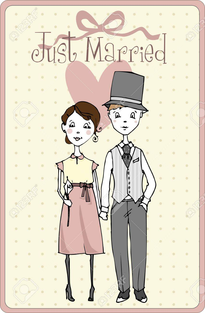 Wedding Invitation With Bride And Groom Illustration Royalty Free ...