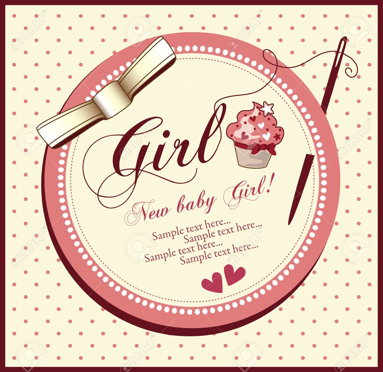 vector baby shower card girl royalty free cliparts, vectors, and, Baby shower invitation