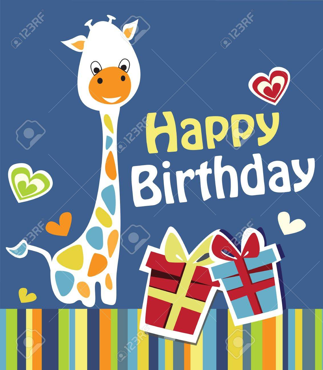 Cute Happy Birthday Card With Nice Giraffe Royalty Free Cliparts – Nice Happy Birthday Cards