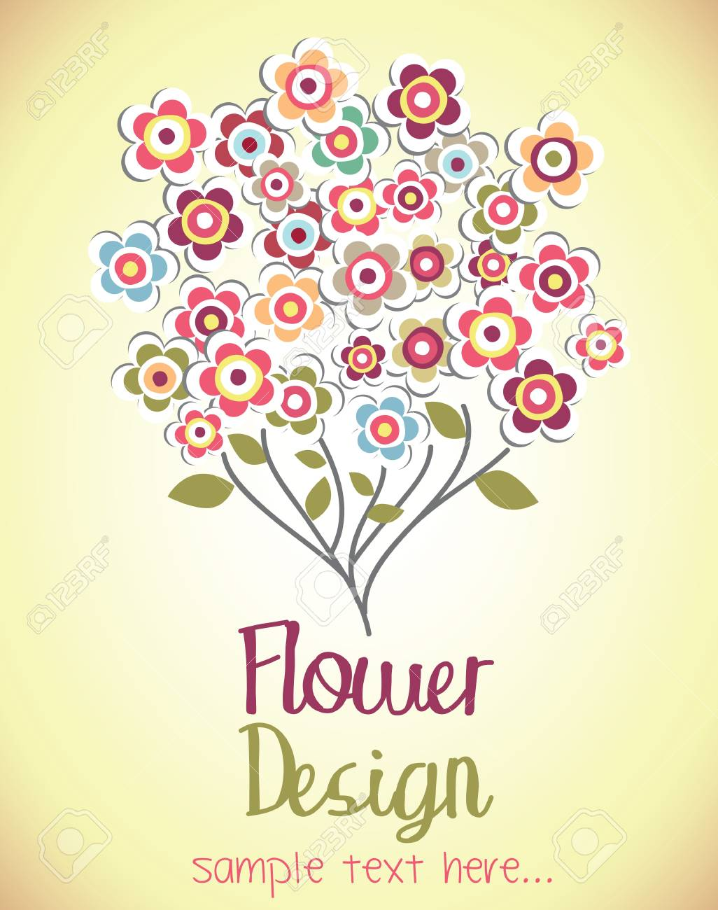 Cute Bouquet Of Flowers Flower Card Vector Illustration Royalty Free ...