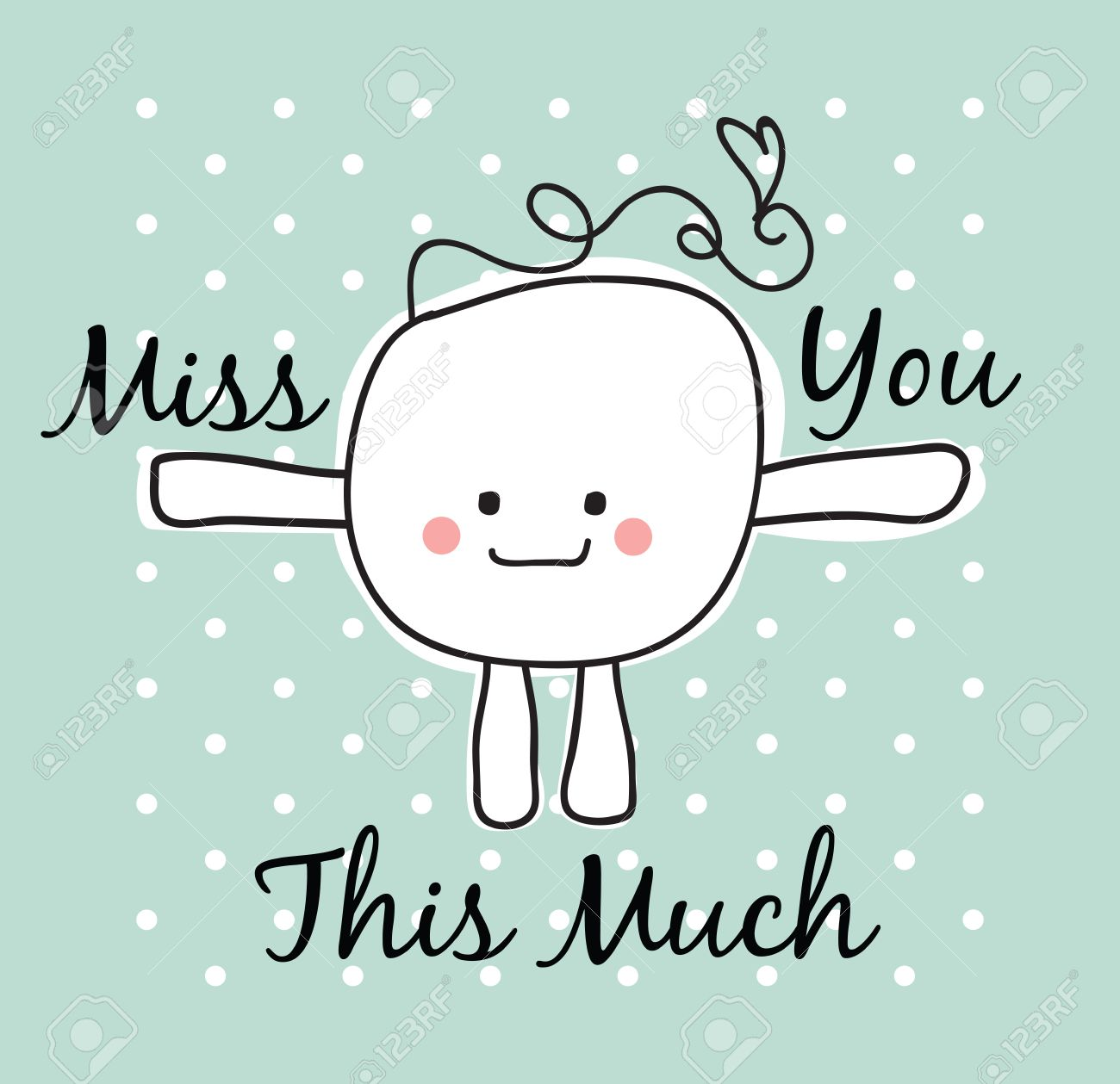 simple doodle with miss you text stock photo picture and royalty