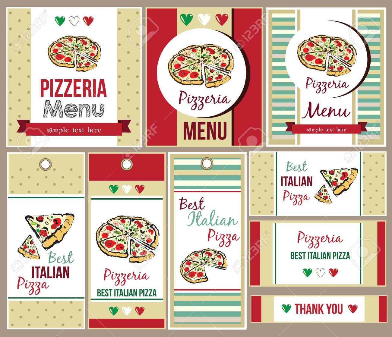 Template Of Menu For Pizza Restaurant And Business Card Stock Photo ...