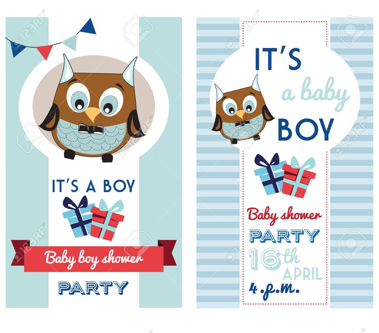 Baby Boy Shower Invitation Card Template With Cute Owl Royalty Free ...