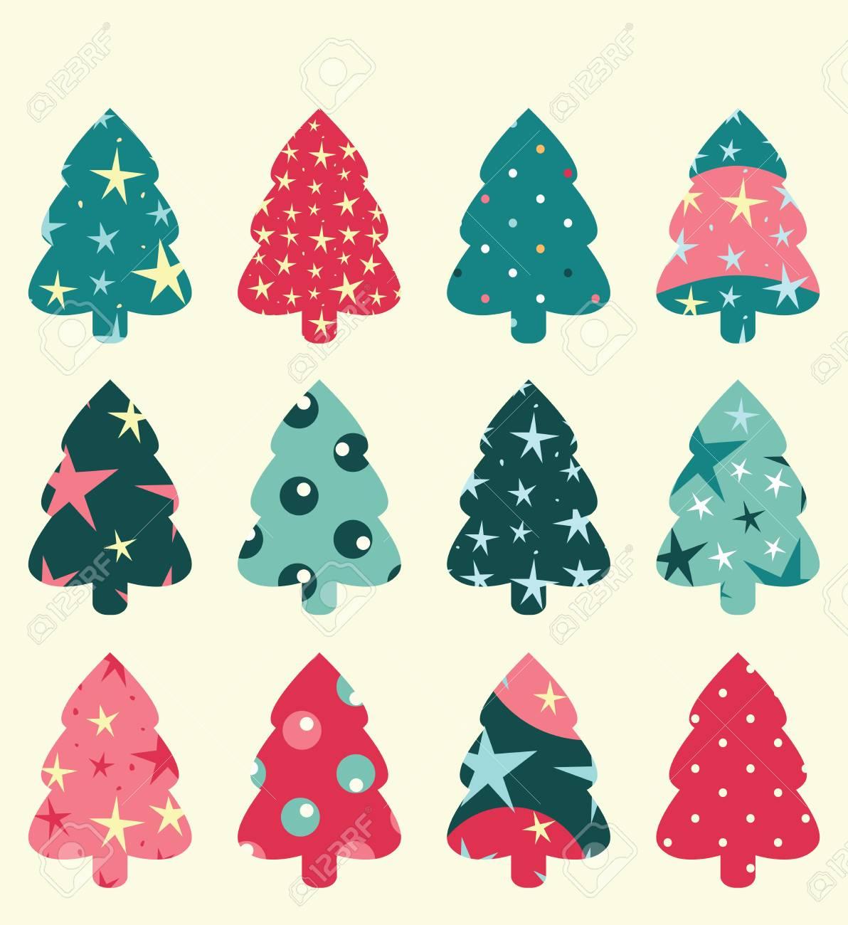 Disegni Di Alberi Di Natale.Set Di Albero Di Natale Puo Essere Utilizzato Come Un Disegno Di Carta O Di Sfondo