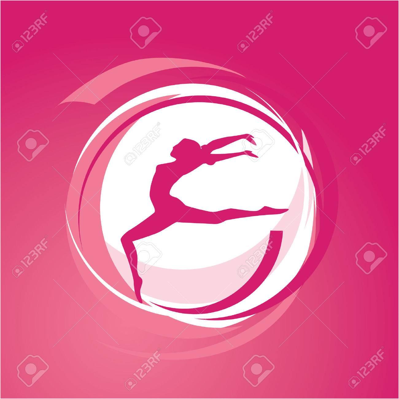 Sport theme - Woman gymnastics silhouette on the move illustration Stock Vector - 6051219