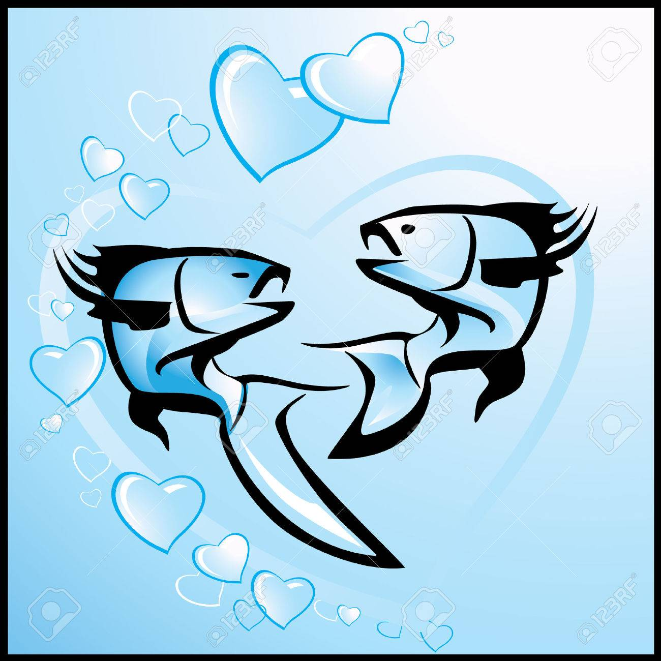 Love, vector valentine background with fishes Stock Vector - 6111377