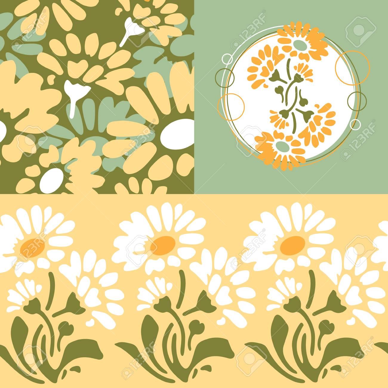 Retro Floral Wallpaper Design Royalty Free Cliparts Vectors And