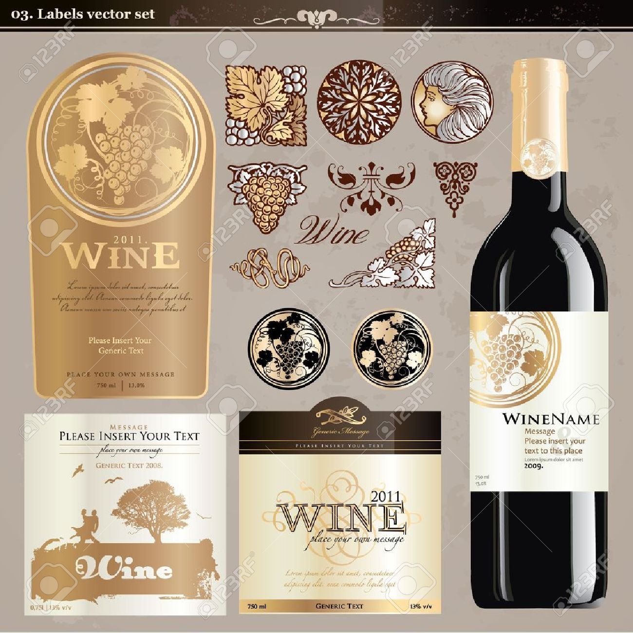 Wine Labels Set Royalty Free Cliparts Vectors And – Wine Bottle Labels Template Free