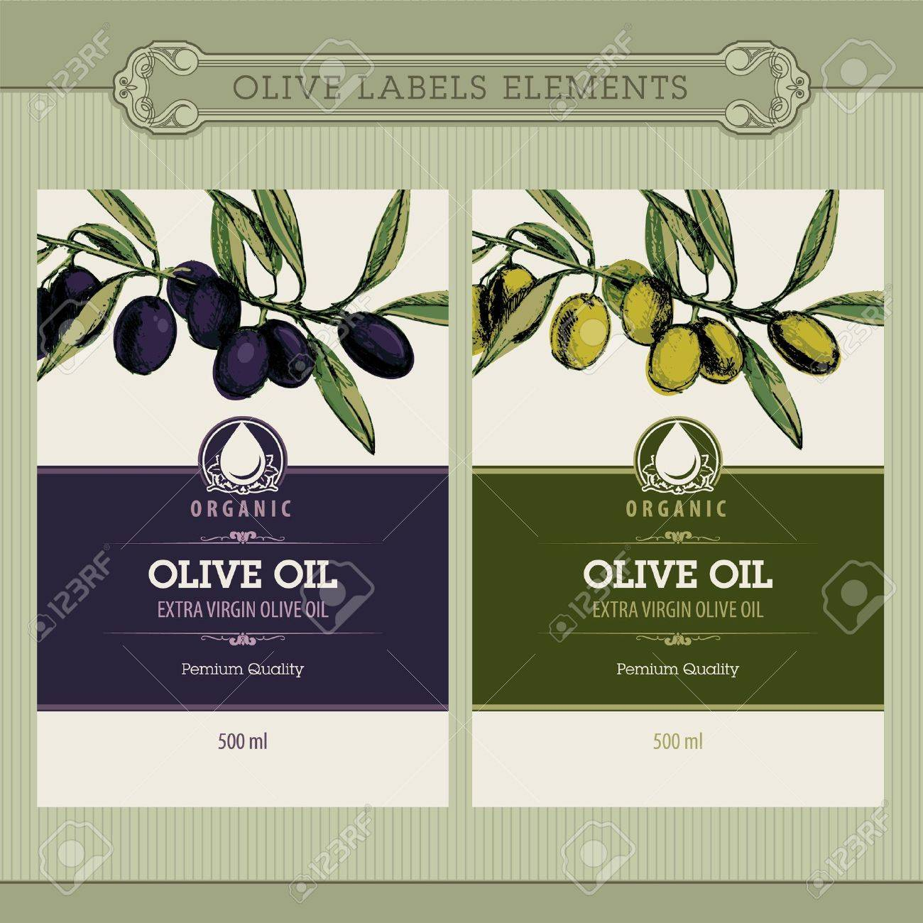 Set of olive oil labels Stock Vector - 10438797