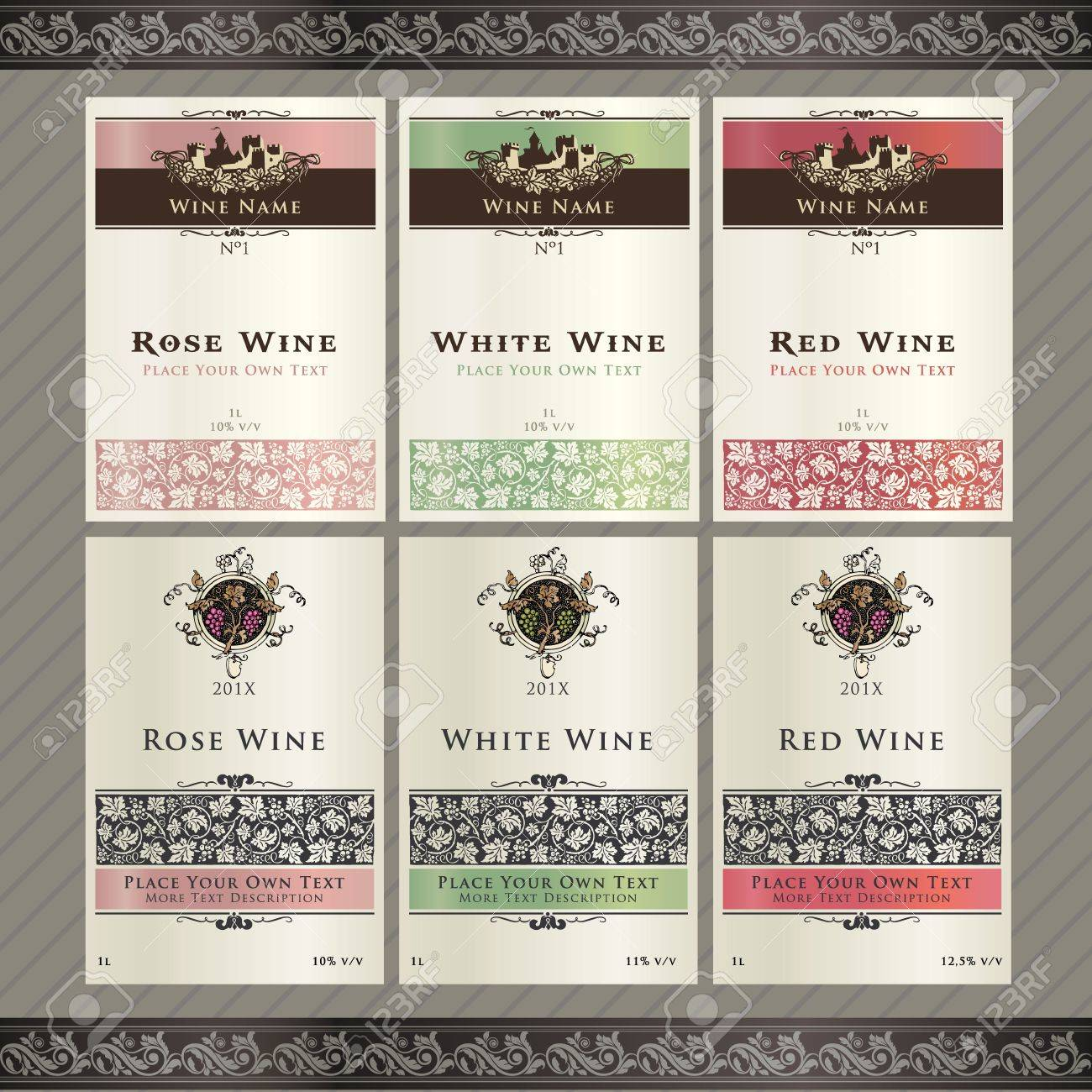 Set Of Wine Label Templates Royalty Free Cliparts Vectors And – Wine Bottle Labels Template Free