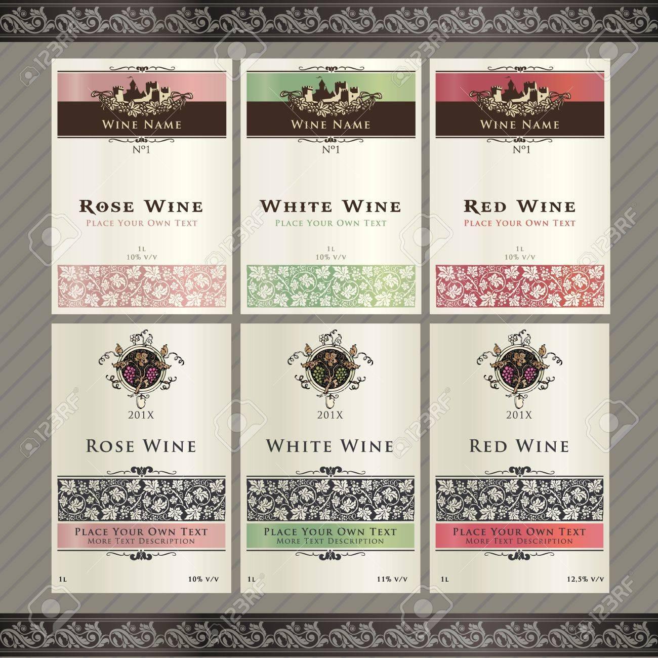 Set of wine label templates - 10505627