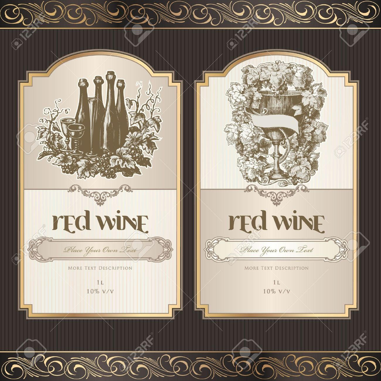 Set Of Wine Labels Royalty Free Cliparts Vectors And – Wine Bottle Labels Template Free