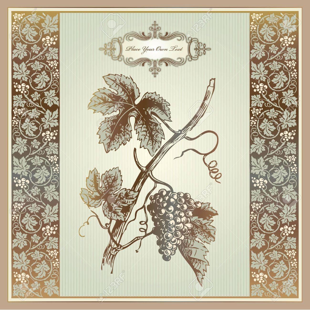 Vintage grape elements for wine label, menu, print material Stock Vector - 10505620