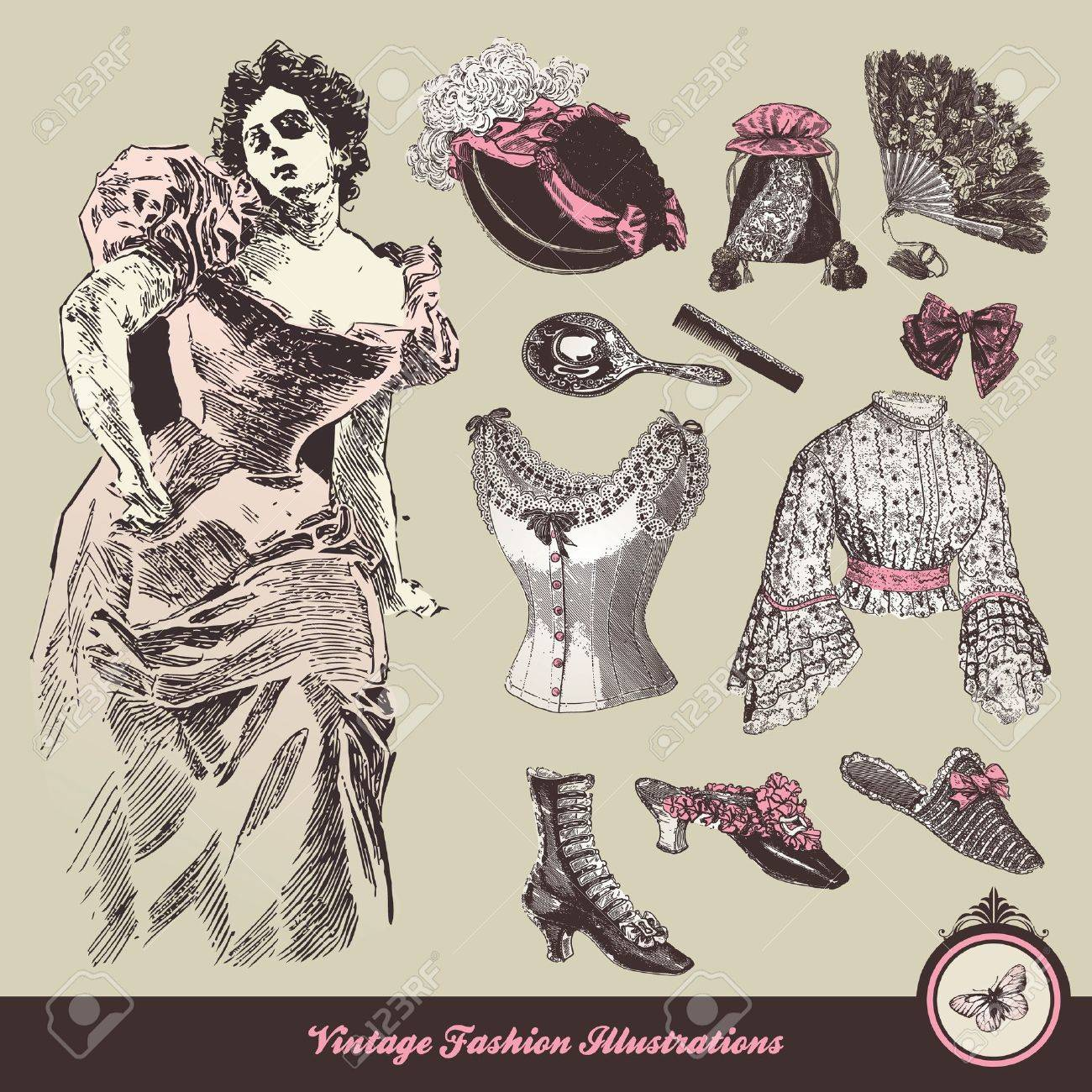 Vintage fashion - clothes and accessories collection Stock Vector - 10917860