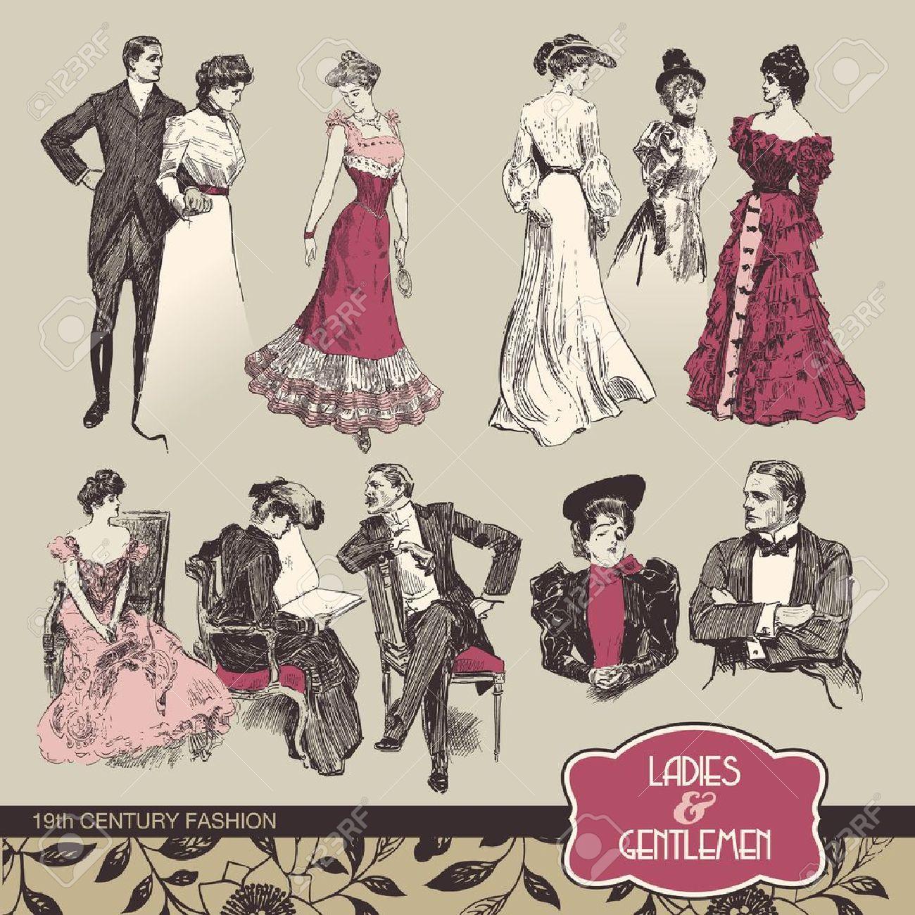 Ladies and gentlemen 19th century fashion - 10917861