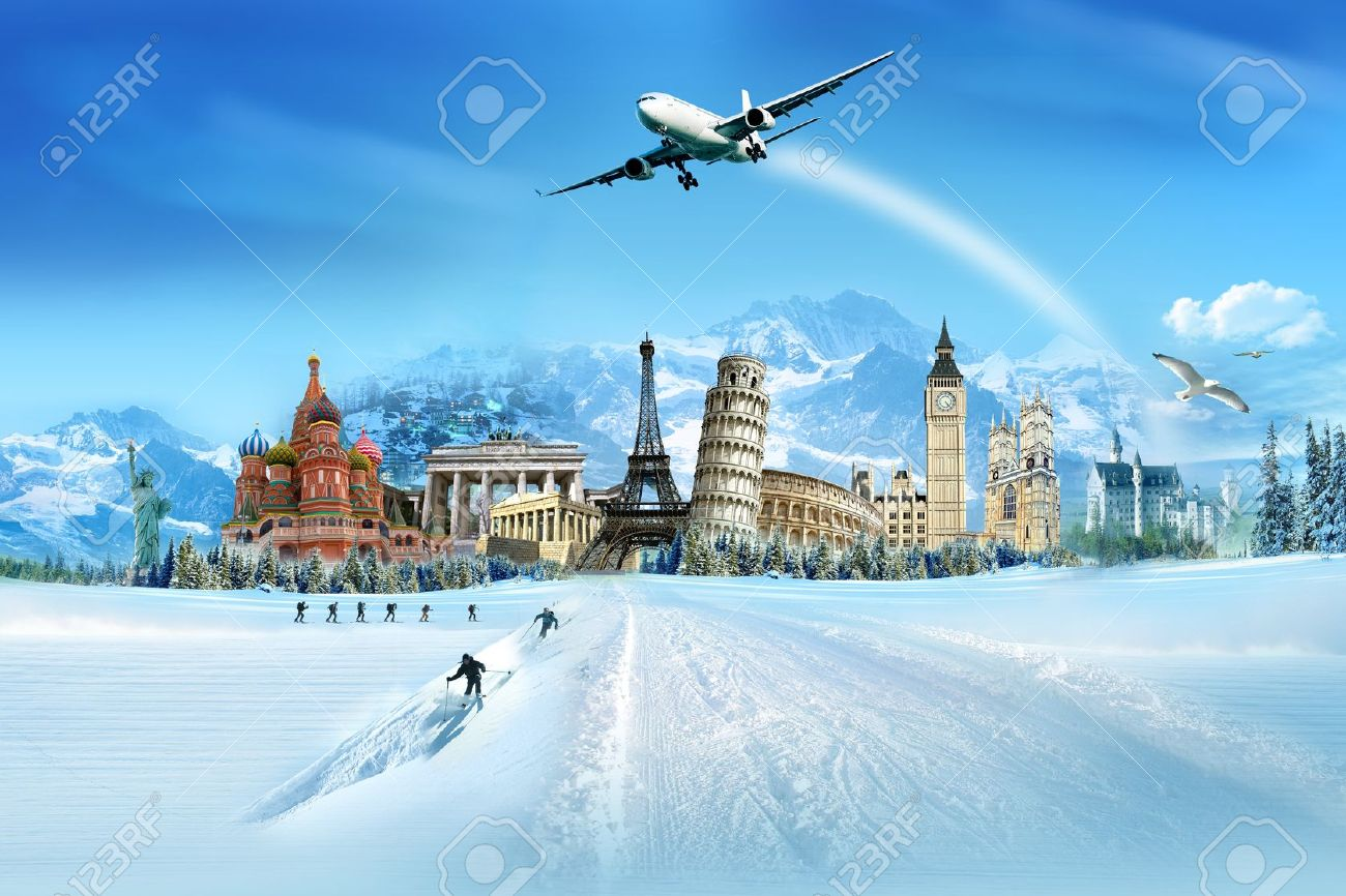 Travel - winter vacation, world monuments and mountains - 11325057