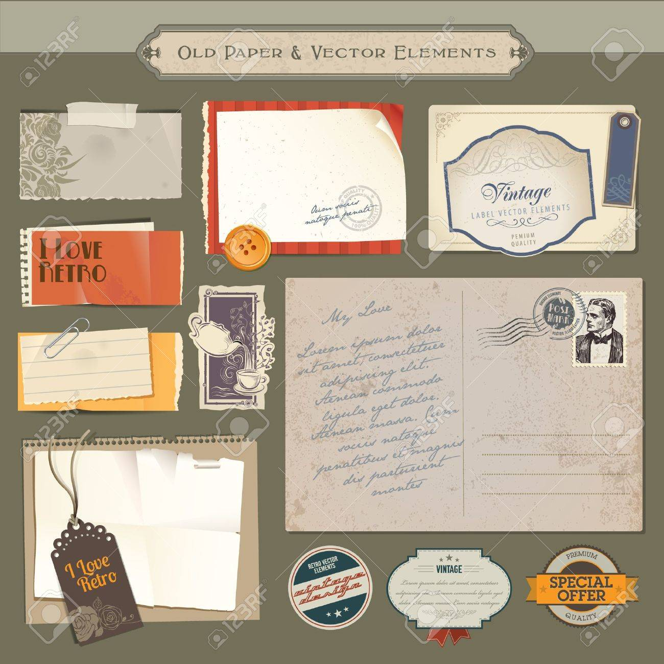 Collection of vintage paper and vector elements - 11814288