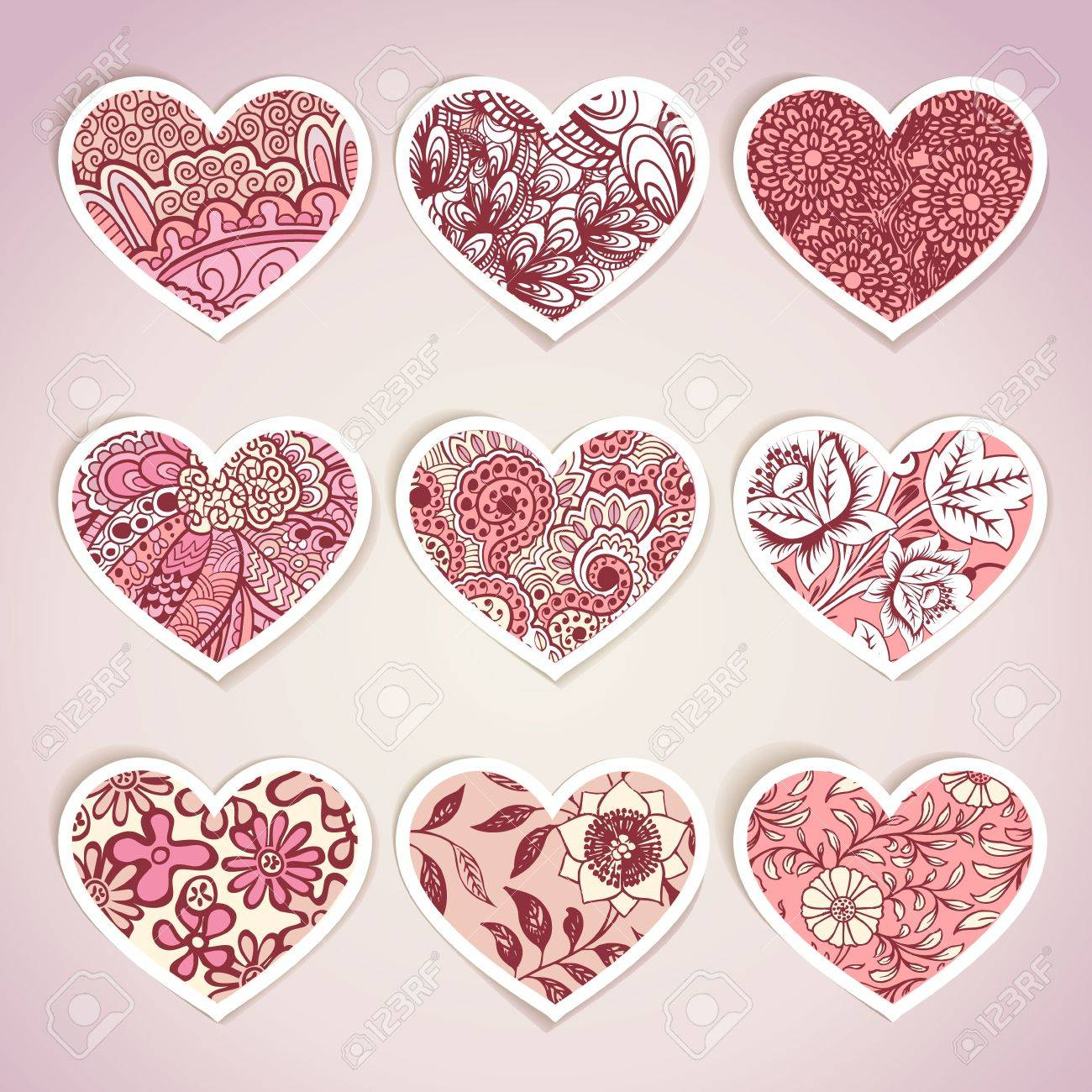Set Of Heart Shaped Labels Royalty Free Cliparts, Vectors, And ...