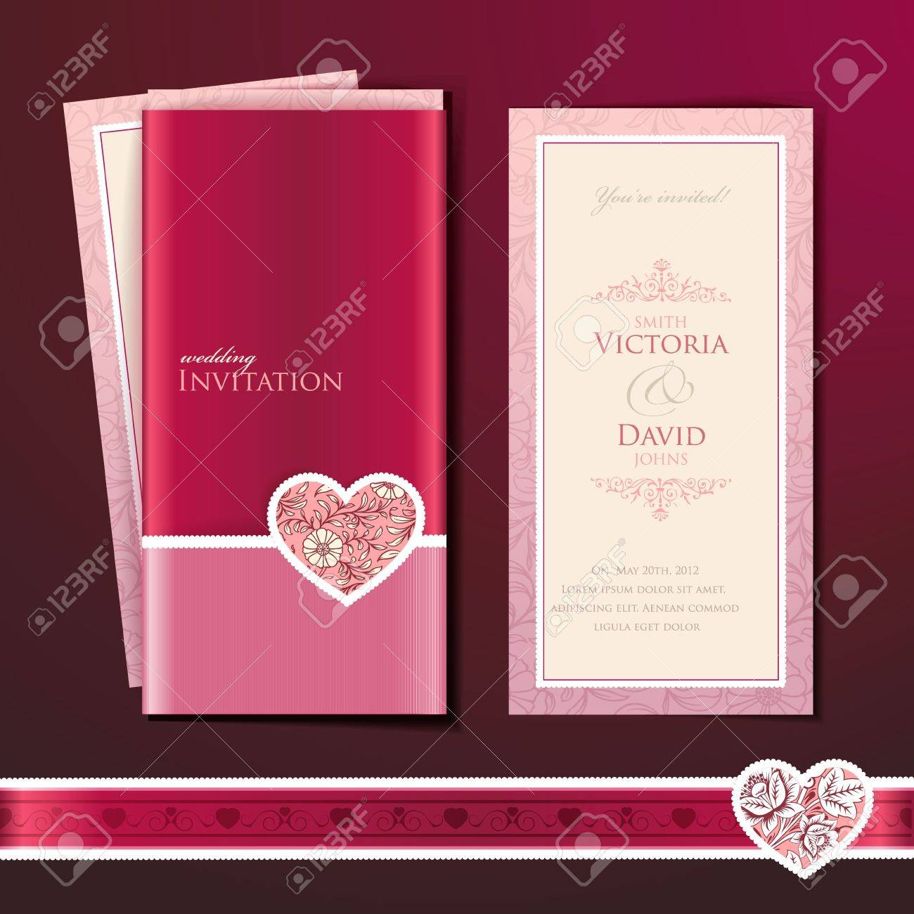 Wedding Invitation Card Royalty Free Cliparts Vectors And – Pink and Red Wedding Invitations