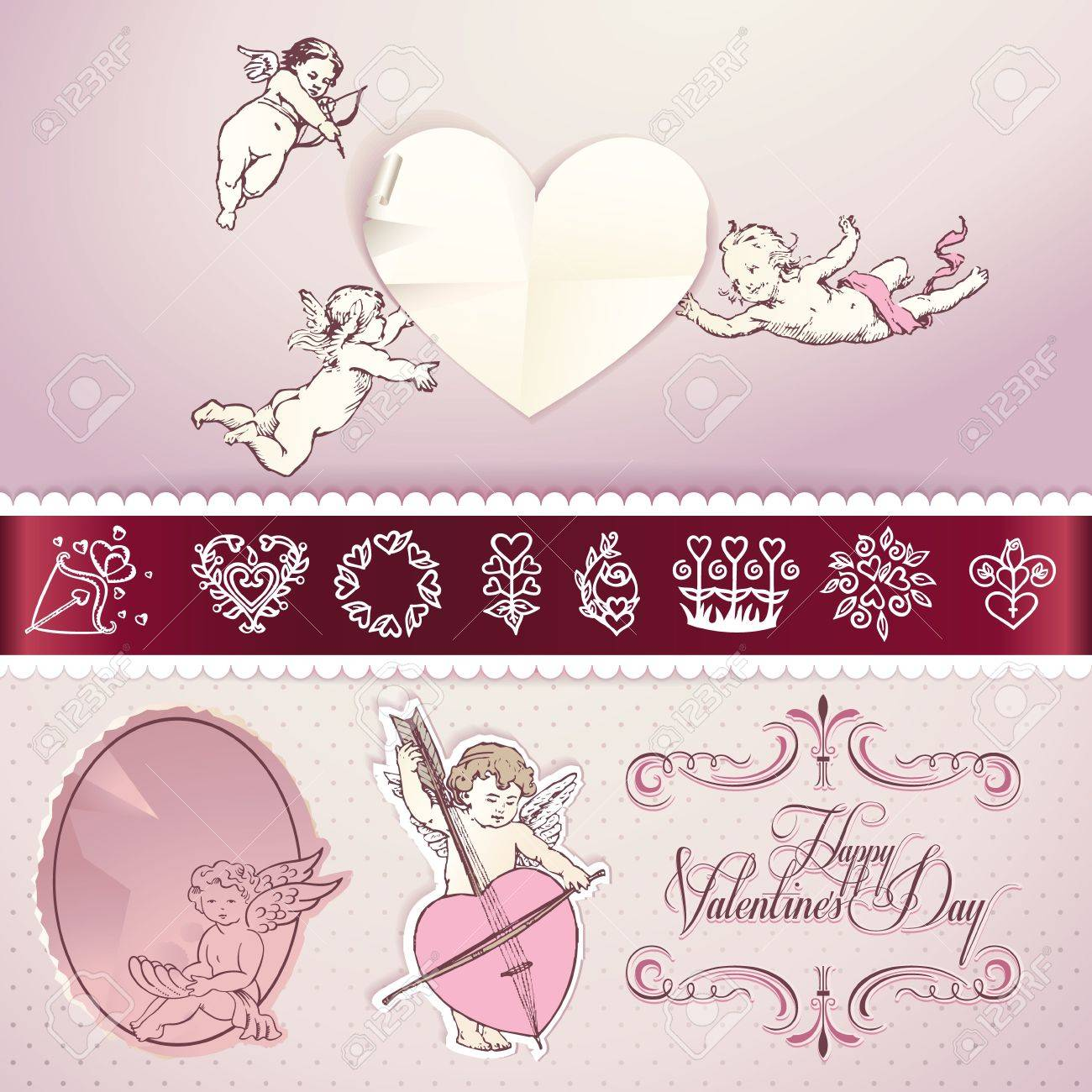 Set of love elements for Valentines day,wedding, love letter, web and print materials - 12041802