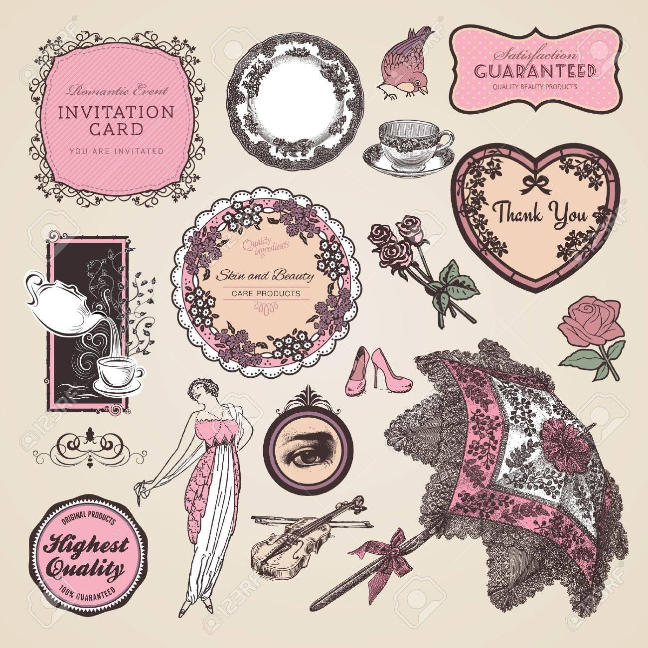 Set of vintage labels and elements - 13061423