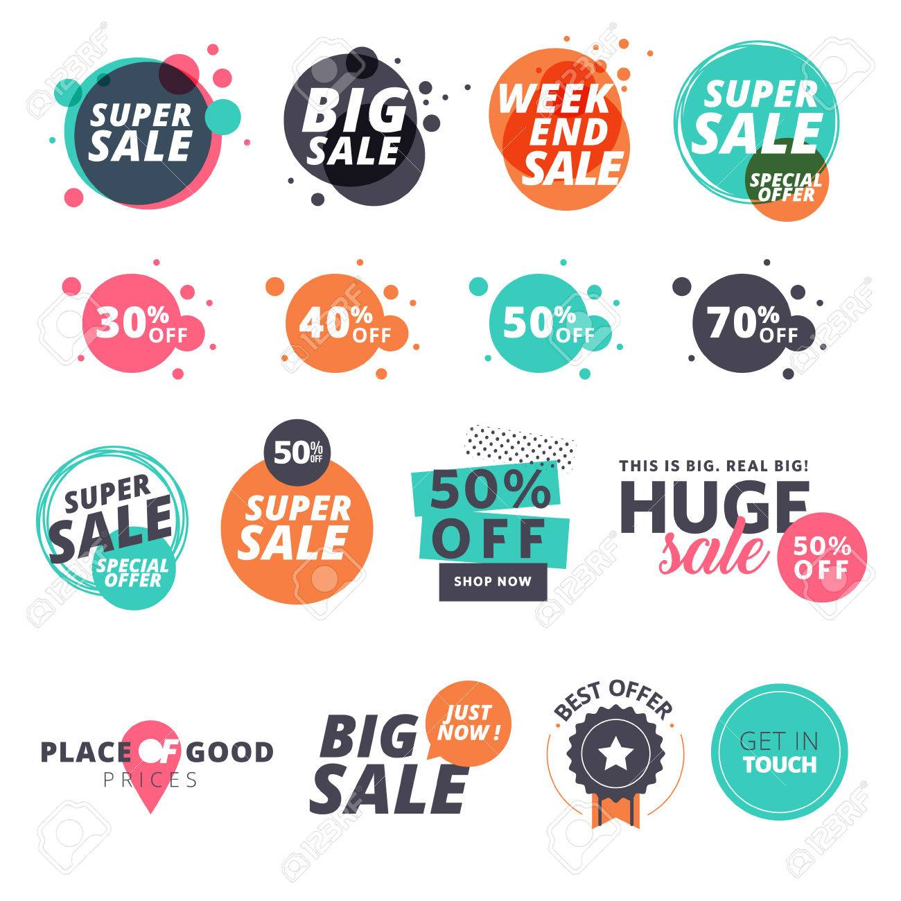 Set of flat design sale stickers illustrations for online shopping product promotions website