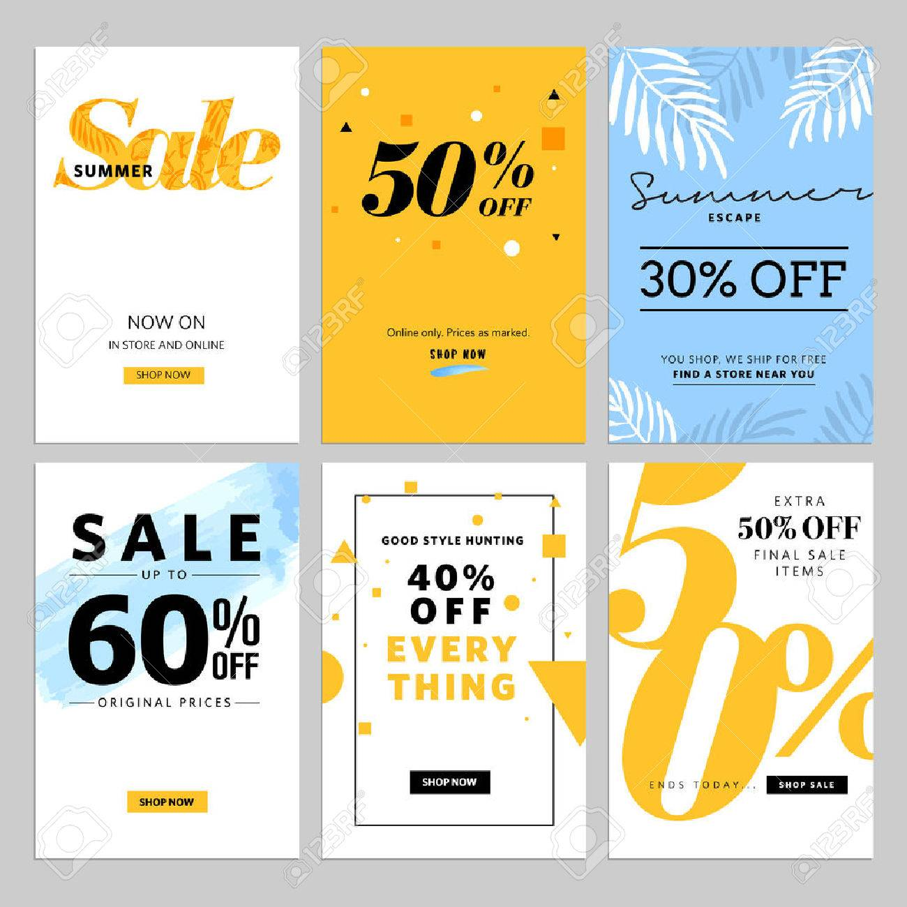 Social media sale and ads web template collection. illustrations for website and mobile website , posters, email and newsletter designs, ads, promotional material. - 59939993