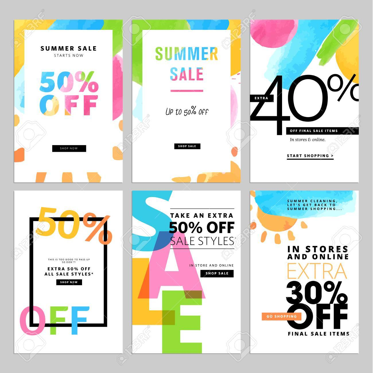 set of social media sale template illustrations for website and