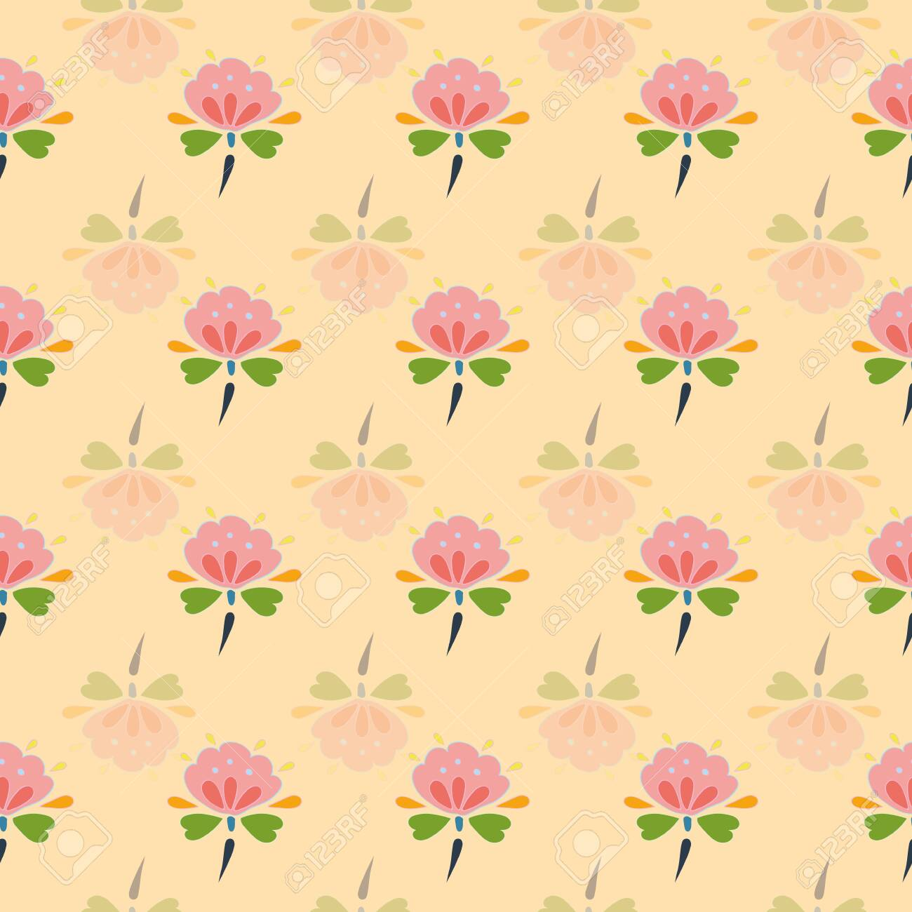 Floral Folk Art Blossom Pattern Simple Geometric Background