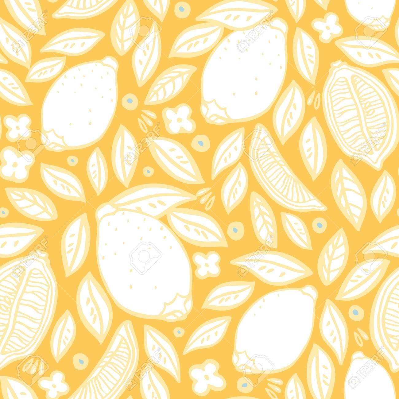 Tropical Lemon Pattern Orchard Citrus Tree Fruit Repeated