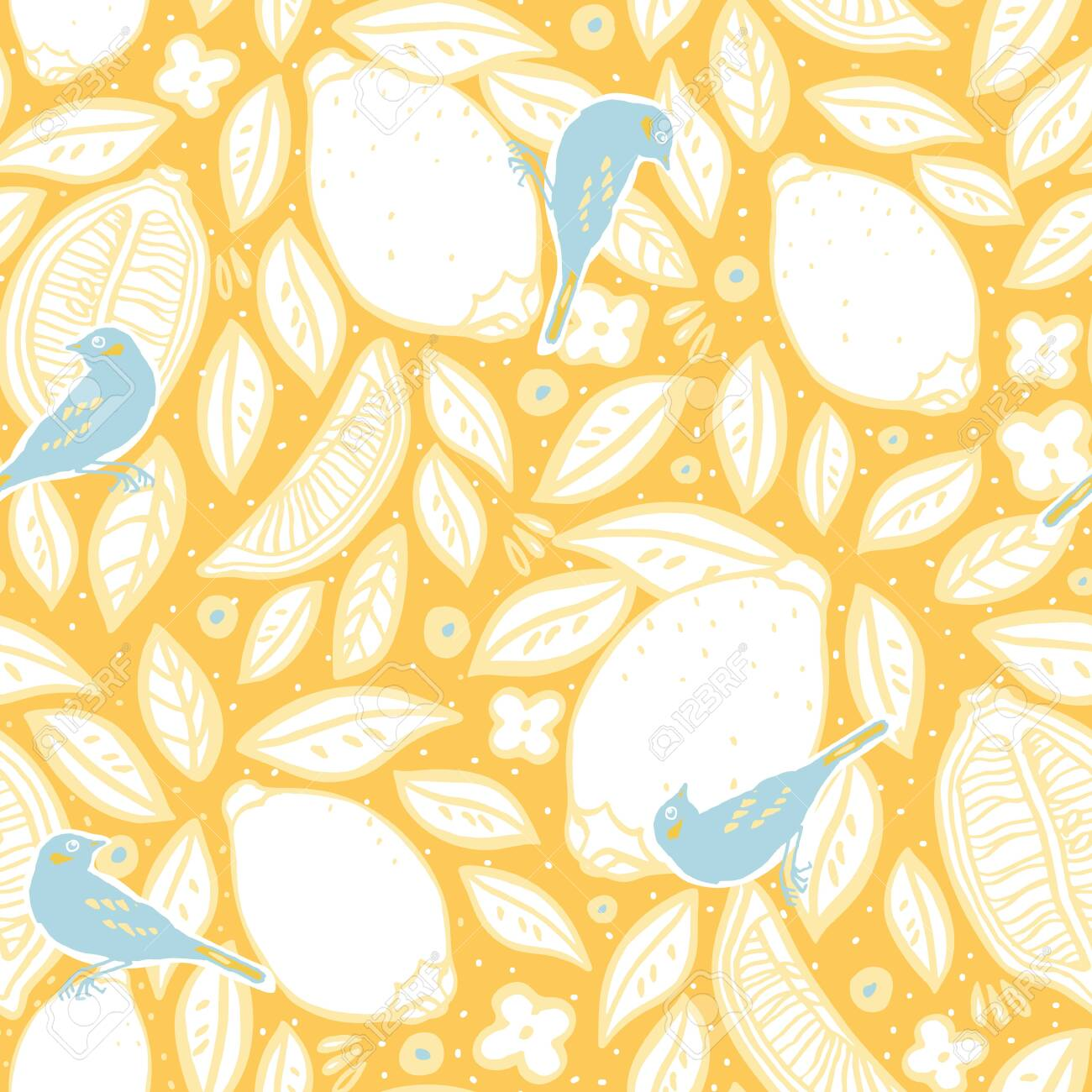 Tropical Yellow Lemon Pattern Orchard Citrus Tree Bird Fruit
