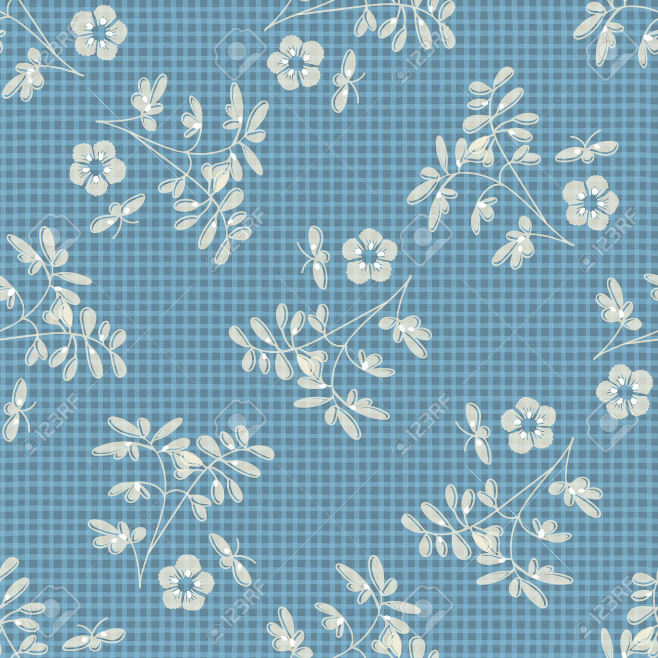 Vintage Gingham Seamless Vector Repeat Background. Monochrome Blue ...