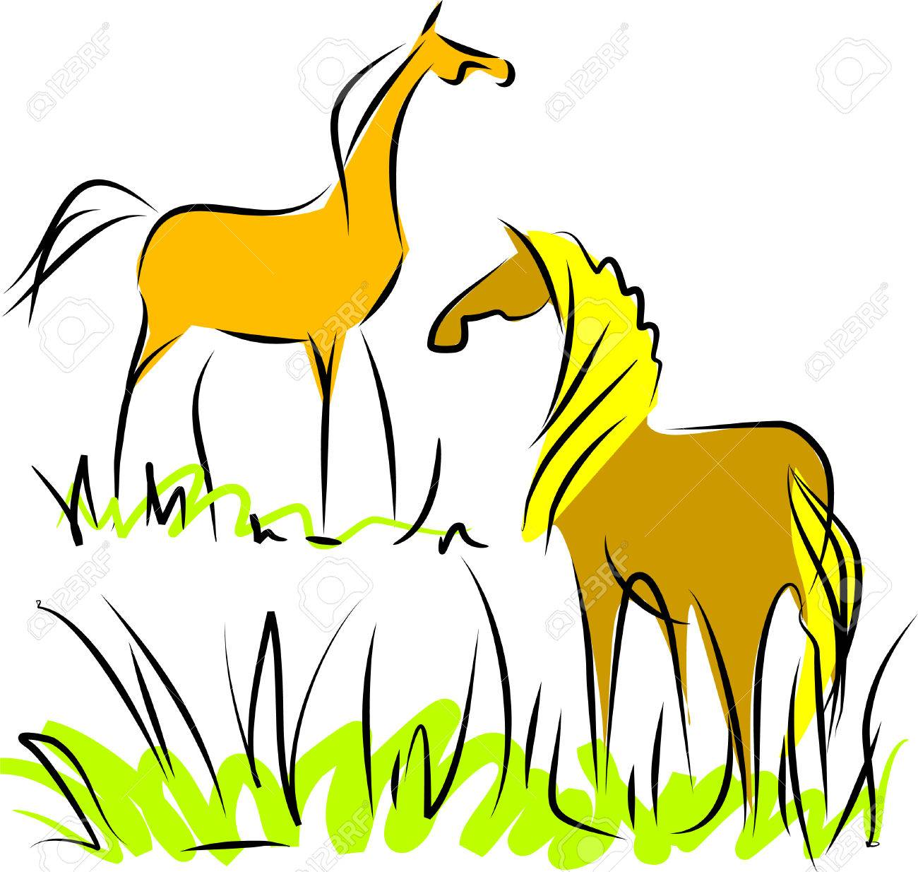 Two horses Stock Vector - 5406941