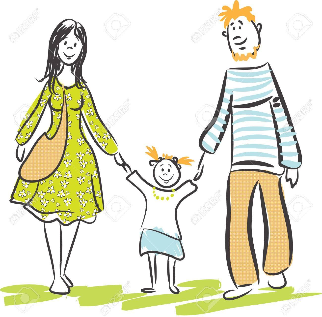 Family walk Stock Vector - 7014821